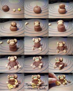 El horneado de Julia: DIY: Mono de fondant ( paso a paso )/ DIY: Fondant monkey ( step by step ) Cupcake Tier, Fondant Cupcake Toppers, Fondant Icing, Fondant Cakes, Cupcake Cakes, Kid Cakes, Cake Topper Tutorial, Fondant Tutorial, Fondant Monkey