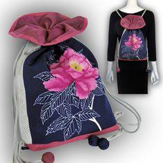 帯でリメイク、キュートでかわいい2通り使える巾着型リュック、ショルダーバッグ