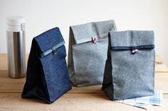 shopping bags from old jeans Purl Bee, Sewing Patterns Free, Free Sewing, Sac Lunch, Lunch Bags, Lunch Bag Tutorials, Jean Diy, Diy Old Jeans, Purl Soho