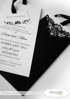 Wedding Invitation in Elegant Black Elegant Invitations, Wedding Invitations, Pistachio, Laughter, Personalized Items, Black, Pistachios, Black People, Wedding Invitation Cards