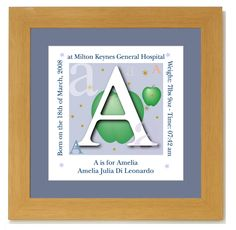 Personalised Baby Name Frame Alphabet Baby Name Initial Boy  £24.99