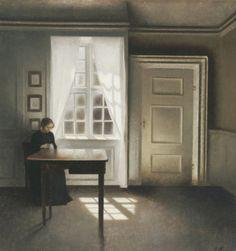 *A Woman Sewing In An Interior  Artist: Vilhelm Hammershoi*