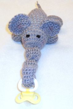 Elephant Pacifier Holder by thecrafter on Etsy, $15.00