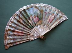 Rare Signed 19th c. French Fan, Mother of Pearl Sticks & Border