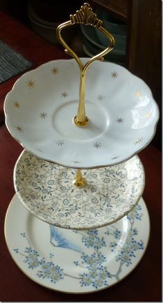 How to make a vintage cake stand! Reminds me of my mothers Christmas cookie platter!