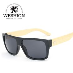c9ca5e6c61 Click to Buy << WESHION Wood Sunglasses Bamboo Square Wooden Men Sunglasses  Woman