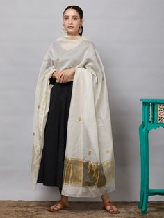 Buy Off White Sequins Embroidered Chanderi Silk Dupatta online at Theloom