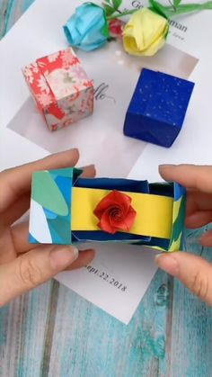 DIY Paper Ring Box How to make a paper ring box - steps by stepsYou can find Origami rose and more on our website.DIY Paper Ring Box How to make a paper ring box - steps by steps Diy Crafts Hacks, Diy Crafts For Gifts, Diy Home Crafts, Creative Crafts, Fun Crafts, Diy Projects, Diy Origami, Paper Crafts Origami, Origami Design