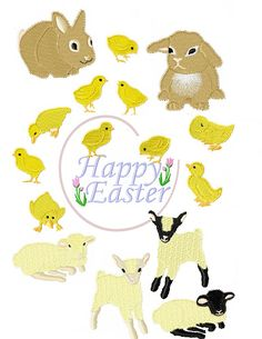 Cute little Easter chicks and bunnies machine embroidery