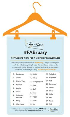 Go for it, take a photo of your FABULOUS Self and tweet #FABruary to play the @Andrea @FoxInFlats FABruary Style Dare