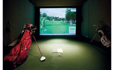 A man cave in the sky. The room includes a golf simulator with different courses. Golf Simulators, Golf Party, Large Homes, Where The Heart Is, Inspired Homes, Man Cave, Ideal Home, Sky, Cool Stuff