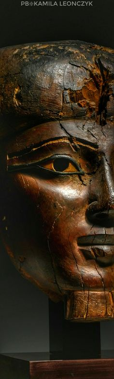 Ancient Egyptian Sculpture - Wood Mummy Mask, 25th/early 26th Dynasty, circa 750-600 B.C
