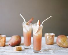 Pear Rum Blush | 1 1/2-ounce pear juice  3/4-ounce dark rum  1-tablespoon cherry grenadine  1 tablespoon lemon juice  1 ounce prosecco  Pear slice and cherry for garnish
