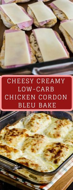 Cheesy Creamy Low-Carb Chicken Cordon Bleu Bake is so delicious that you definitely wont miss the breaded coating thats usually found on Chicken Cordon Bleu. And this recipe is also Keto, low-glycemic, and gluten-free! Use the Diet-Type Index to find Keto Foods, Diabetic Recipes, Keto Recipes, Recipes Dinner, Gluten Free Recipes Low Carb, Low Carb Dinner Ideas, Low Car Recipes, Easy Recipes, Dessert Recipes