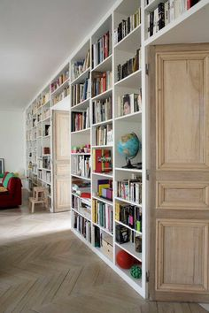 Home library, or family room. Library Bookshelves, Bookcase Shelves, Bookcases, Book Shelves, Shelving, Library Inspiration, Book Wall, Home Libraries, Reading Nook