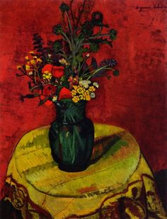 cavetocanvas: Suzanne Valadon, Vase of Flowers on a Table, 1918
