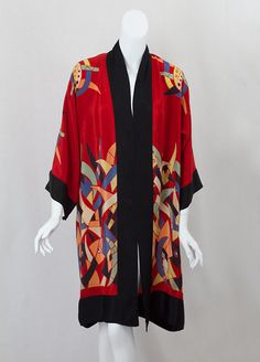 Deco silk print robe, 1920s, from the Vintage Textile archives.