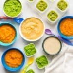 Homemade baby food: Peas, green beans, applesauce, butternut squash and oatmeal