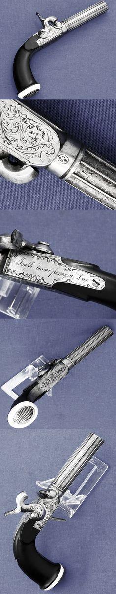 A very nice Belgium percussion pistol, signed by Joseph Vivario Passage a Liege, ca 19th century.