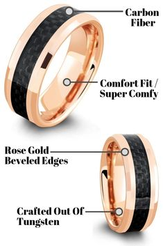 This mens wedding ring is crafted out of rose gold tungsten carbide and inlaid with a black woven carbon fiber inlay. My wedding band his rose gold and this one totally match it. Plus, most importantly he would love this wedding ring. Truly a unique men's rose gold wedding ring. #mensweddingrings #mensweddingbands #Mensrings