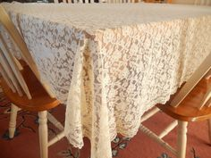 vintage lace tablecloth sheer rectangular light tan by brixiana, $20.00