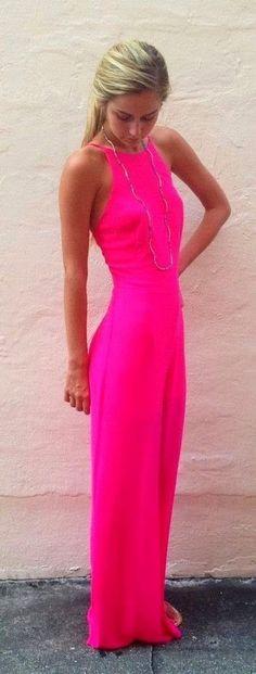 Hot Pink Summer Maxi Jumpsuit