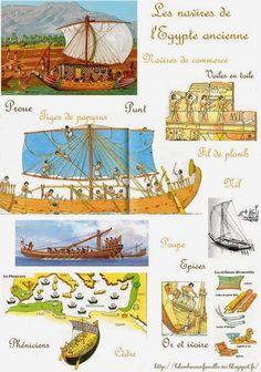 Le bonheur en famille: L'histoire des bateaux, les premières embarcations et les navires de l'Egypte ancienne...