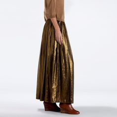 """for fall 2012, long """"goldie"""" skirt - with a grey basic sweat-shirt .... - jupon long mordoré La redoute"""