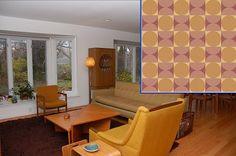 A great Bradbury & Bradbury wallpaper suggestion from Pam at Retro Renovation for a Danish modern interior. #bradburywallpaper