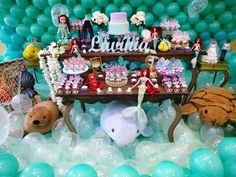 Mesa temática Ariel e mural de balões Rede Festas Decorações Guarulhos SP 981337034