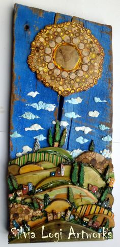#landscape in #wood and #mixed media # mosaic see more on FB https://www.facebook.com/pages/Silvia-Logi-Artworks/121475337893535?ref=br_rs