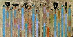 Hamza Bounoua, Algeria: World Gold, 2007 acrylic and paper on plexiglass with gold leaf 100 x 200 cm