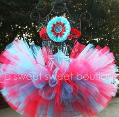 Dr. Seuss Party Theme Couture Tutu With Matching Flower Headband
