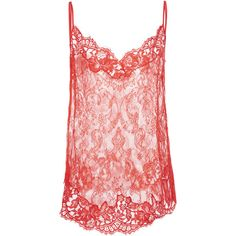 Givenchy Flower Lace Camisole ($1,945) ❤ liked on Polyvore featuring intimates, camis, red, lacy cami, lace camis, givenchy, v neck lace camisole and v neck cami