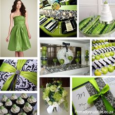 Green Cupcake Wedding Decorations:  These ideas for a green themed event are so beautiful!  The lime shade of green is perfect topped on the cupcakes, around the invitations, and splashed all over the wedding tables.
