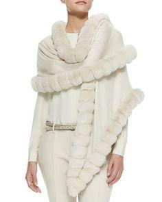 Oval Chinchilla Fur Crystal Wrap, Vanilla Ice by Loro Piana at Bergdorf Goodman.