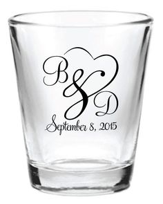 144 Personalized 1.5oz Wedding Favors Glass Shot by Factory21, $163.69