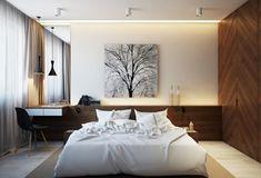 chambre à coucher moderne avec armoire en bois massif, tête de lit fonctionnelle et accents noirs