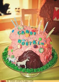 Charlie the Unicorn Cake. Alright, who has a birthday coming up? OMG I forgot about Charlie the unicorn. Candy Mountain Charlie, Cute Food, Yummy Food, Charlie The Unicorn, Mountain Cake, Fiestas Party, Food Humor, Let Them Eat Cake, Food Photo