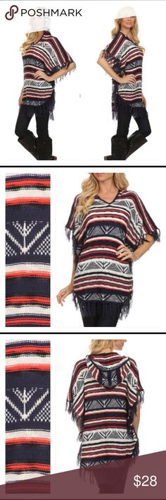 ❗️SHIP DELAY❗️Pullover Hood Tassel Tunic S/M L/XL Love this piece!!! 3/4 sleeve hooded pullover tunic with tassel arms & hem. Soft knit in navy, white & salmon. Can be worn all year long either alone or over short or long sleeves.  Small/Medium or Large/XL Tops Tunics