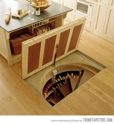 Trap door in the kitchen floor that leads to a spiral wine cellar. only in my house it would lead to the bat cave instead of a wine cellar Home Design, Design Ideas, Design Room, Design Hotel, Floor Design, Spiral Wine Cellar, Root Cellar, Beer Cellar, Trap Door