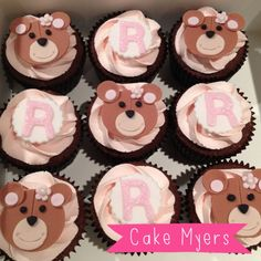 Pink teddy bear cupcakes for a build a bear birthday party