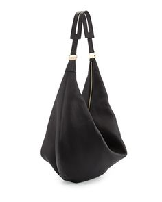 THE ROW Sling 15 Grained Leather Hobo Bag, Black - Bergdorf Goodman