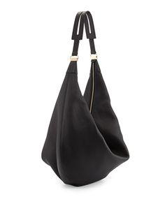 THE ROW Sling 15 Grained Leather Hobo Bag, Black - Bergdorf Goodman