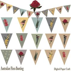 Print Your own Bunting Australia Day Bunting, Digital Download Flora Drawn by myself 8.5 x 11 in jpg and pdf form You will need A Printer, Scissors, Stapler Ribbon or String Simply Cut and staple to your needs on String Or Ribbon This is for personal use only, May be used in School Classrooms, Home, Personal Business, Party etc May Not be used for any commercial use Please do not share these files with anyone else, online share sites etc. You will receive This Instant Download Digit...