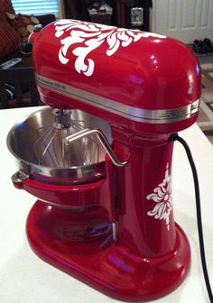 Vinyl Damask Decals for KitchenAid Mixer FREE by DWDesign8 on Etsy, $10.50  I could totally do this using my Cricut machine!! ;)