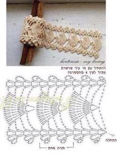 34 Trendy Ideas For Crochet Headband Diagram Ganchillo Bandeau Crochet, Crochet Belt, Crochet Lace Edging, Crochet Diagram, Crochet Bracelet, Crochet Chart, Crochet Trim, Irish Crochet, Lace Bracelet