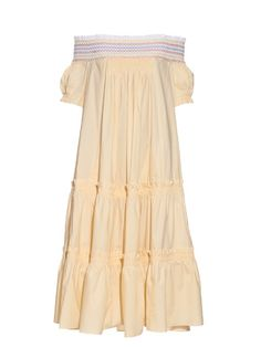 Peter Pilotto's lemon-yellow Petra dress is a stellar way to work the summer's shoulder-baring silhouette. Cut from a light cotton-blend, it falls in voluminous tiers to the mid calf, and is trimmed with a smocked white neckline that's stitched with stripes of yellow, blue, and orange. Style it with a colour-pop clutch and block-heeled sandals.