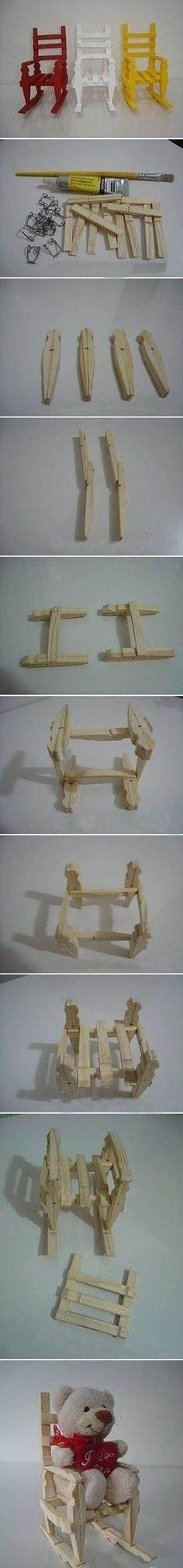 cadeira de balanço feita de pregadores de roupas
