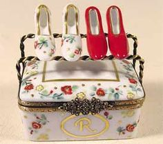 Red Floral Limoges Shoe Box